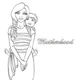 Coloring book  Mother 1 Royalty Free Stock Images