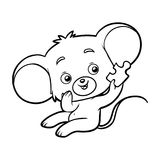 Coloring book, Mouse. Coloring book for children, cartoon Mouse and piece of puzzle Vector Illustration