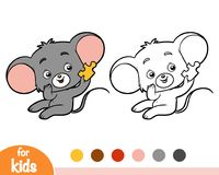 Coloring book, Mouse and piece of puzzle. Coloring book for children, Mouse and piece of puzzle vector illustration