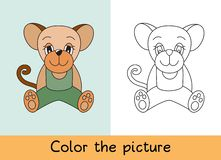 Coloring book. Mouse, rat. Cartoon animall. Kids game. Color picture. Learning by playing. Task for children vector illustration