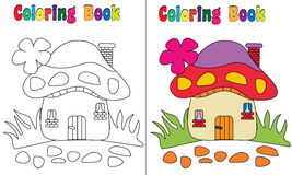 Coloring Book Mushroom House Stock Photography
