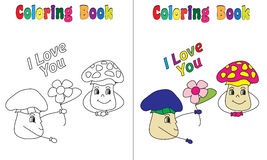 Coloring Book Mushroom Love. Coloring and colored version included Royalty Free Stock Photography