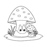 Coloring book - mushrooms Royalty Free Stock Image