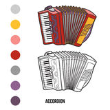 Coloring book: musical instruments (accordion) Royalty Free Stock Photography