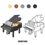 Coloring book: musical instruments (grand piano) Stock Photo