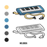 Coloring book: musical instruments (melodica) Stock Images