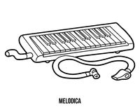 Coloring book: musical instruments (melodica) Royalty Free Stock Photography