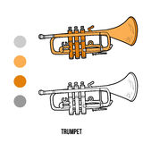 Coloring book: musical instruments (trumpet) Royalty Free Stock Photos
