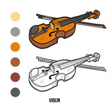 Coloring book: musical instruments (violin) Stock Images