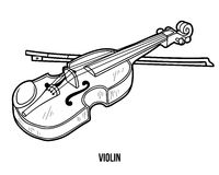 Coloring book: musical instruments (violin) Royalty Free Stock Image