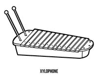 Coloring book: musical instruments (xylophone) Royalty Free Stock Photos