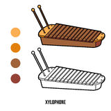 Coloring book: musical instruments (xylophone) Stock Photos