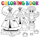 Coloring book Native American campsite. Eps10 vector illustration Stock Image