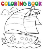 Coloring book nautical boat 1 Stock Photo