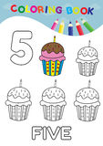 Coloring book number five with 5 cupcakes vector for kids and ed Royalty Free Stock Image