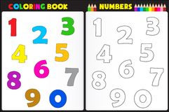 Coloring book numbers. Coloring book page for kids with colorful numbers and sketches to color Stock Photos