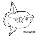 Coloring book, Ocean sunfish Royalty Free Stock Images