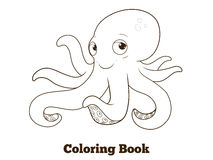 Coloring book octopus cartoon educational Royalty Free Stock Photos