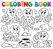 Coloring book octopus theme 1. Eps10 vector illustration Stock Photography