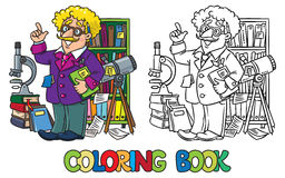 Free Coloring Book Of Funny Scientist Or Inventor Royalty Free Stock Photos - 87095568