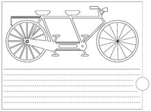 Coloring book with old bicycle and place for text Royalty Free Stock Photo