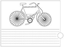 Coloring book with old bike and place for text Stock Photo