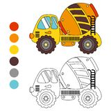 Coloring book сoncrete truck, kids layout for game. Royalty Free Stock Photography