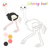 Coloring book ostrich kids layout for game Royalty Free Stock Images