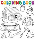 Coloring book outdoor objects collection stock illustration