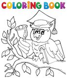 Coloring book owl teacher theme 1 Stock Photo