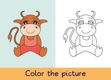 Coloring book. Ox, bull, cow and calf. Cartoon animall. Kids game. Color picture. Learning by playing. Task for children vector illustration