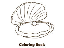 Coloring book oyster fish cartoon  illustration Royalty Free Stock Photos