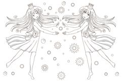 Coloring book page   2 princesses Royalty Free Stock Photography