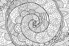 Coloring book page with abstract art with spiral Royalty Free Stock Photography
