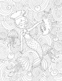 Coloring book page for adult and kids. Royalty Free Stock Images