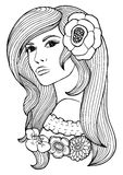 Coloring book page for adult. Vector anti stress pattern. Image of beautiful girl's face with flower in the hair Stock Photography