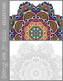 Coloring book page for adults - flower paisley Royalty Free Stock Photo