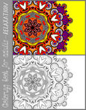 Coloring book page for adults - flower paisley Royalty Free Stock Photography