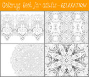Coloring book page for adults - flower paisley Stock Photos