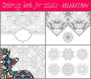 Coloring book page for adults - flower paisley Royalty Free Stock Photos