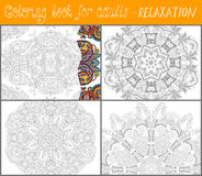 Coloring book page for adults - flower paisley Stock Images