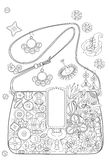 Coloring book page for adults. grown ups. Bag with flowers and buttons. Stock Photos