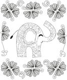 Coloring book page for adults line art creation, hand drawn elephant relax and meditation Royalty Free Stock Photo