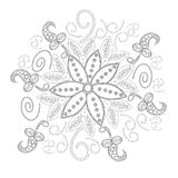 Coloring book page for adults line art creation, heart and flowers, relax and meditation Royalty Free Stock Photography