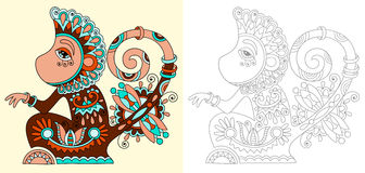 Coloring book page for adults with unusual Stock Photos