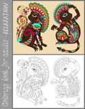 Coloring book page for adults with unusual Royalty Free Stock Images