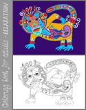 Coloring book page for adults with unusual Royalty Free Stock Photography