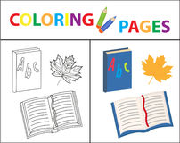 Coloring book page. Back to school set, book, primer. Sketch outline and color version. Coloring for kids. Childrens. Education. Vector illustration Royalty Free Stock Photos