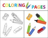 Coloring book page. Back to school set, marker, pencils, sharpener, eraser. Sketch outline and color version. Coloring vector illustration