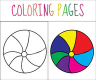 Coloring book page. Ball. Sketch and color version. Coloring for kids. Vector illustration Royalty Free Stock Photos